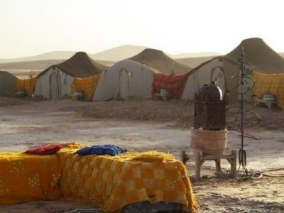 Nomadic camps of bivouacs in the Moroccan sand dunes