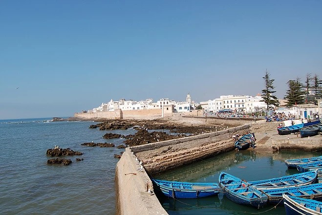 Harbour walls with Essaouira in the background