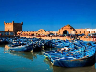 Essaouira harbour with blue boats