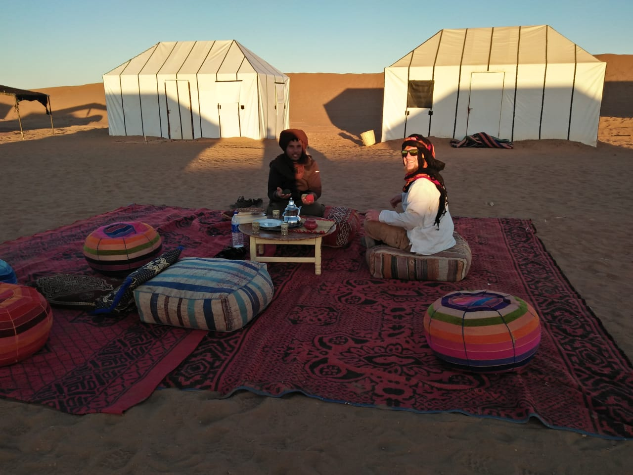 Photo showing nomadic style tents in the Erg Chebbi dunes as part of a desert tour