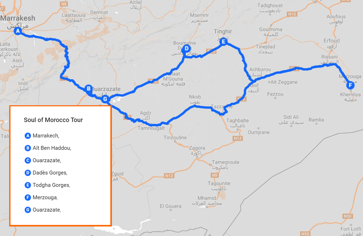Route map for soul of Moroccor tour